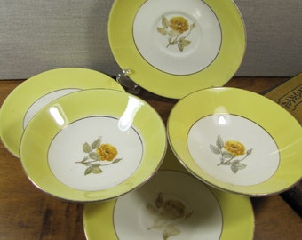 Yellow Rose - Yellow Rim - Five (5) Piece Set of Dishes - Saucers and Bowls
