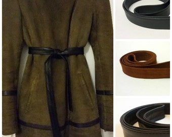 Replacement belts for vintage Flat belt leather Belt leather for coat / jacket Belt gray Belt black Belt brown