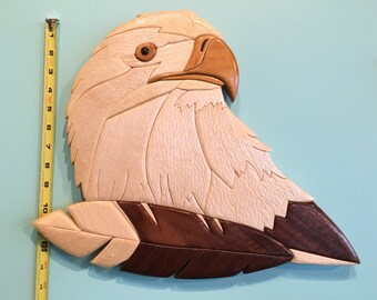 Wood Eagle, Patriotic Wall Decor, Wood Intarsia, Hand Crafted, Gift