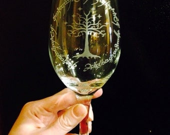 Lord of the Rings Inspired- Tree white wine glass with elvish scripture-HOT ITEM!