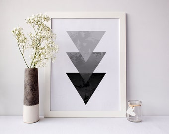 Triangle Art, triangle wall art, geometric print, grey wall art, gradient print, grey art, modern art, office decor, Wall Art, Home Decor