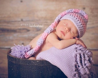 Newborn Girl Photo Prop baby hat pink & purple