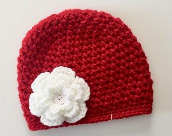 Nebraska Baby Hat, Toddler Child Kids Red Crochet hat