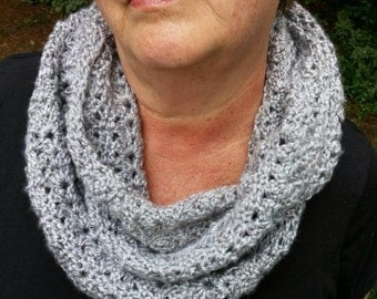 Infinity Scarf, Decorative Scarf, Cowl, Scarf, crochet infinity scarf, gray cowl, women's accessory