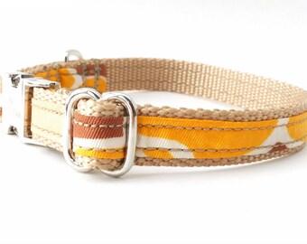 Mango Yellow Dog Collar, Mod Dog Collar, Orange Dog Collar, Gold Dog Collar, Retro Dog Collar, Summer Dog Collar, Dog Collar Size Small