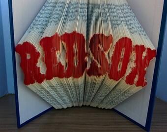 Red Sox- Folded Book Art - Fully Customizable, baseball, sports