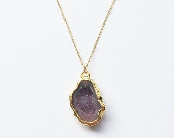 Aurora Necklace // Gold Fill // Gold Necklace, Geode Necklace