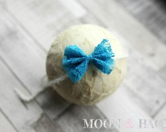 Handmade Teal Lace Bow Tieback Headband Newborn Photo Photography Prop