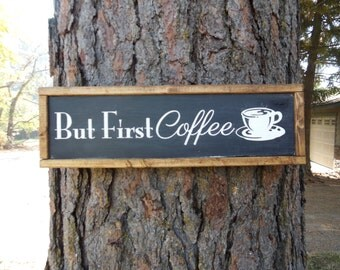 """Joyful Island Creations """"But first coffee"""" wood sign, black and white kitchen sign, coffee decor, coffee sign, kitchen sign, black and white"""