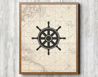 Sailboat Steering Wheel 8 x 10 Printable