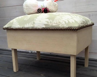 sewing box, stool, upholstered, shabby chic, fern fabric