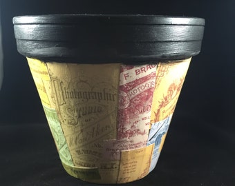 Decoupage Flower Pot with Vintage Advertising