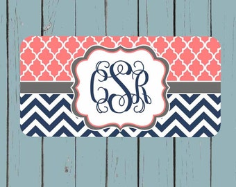 Monogram License Plate - Coral Lattice Navy Chevron License Plate Frame - Personalized License Plate - Car Tag - Front Plate