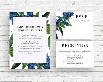 Gentiana Blue Vintage Botanical Illustration Wedding Invitation