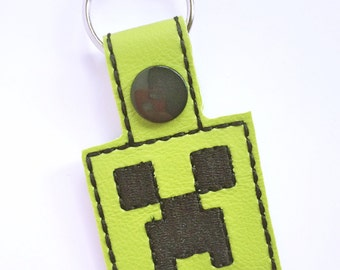 Minecraft Inspired Creeper Keychain, Embroidery, Video Games, Gamer Accessory