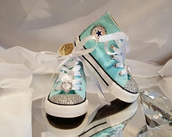 BLING Converse, Kids Bling Converse, Rhinestone & Ribbon Custom Converse, Wedding Shoes, Flower Girl Shoes, Birthday,Pageant