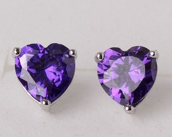 Simulated Amethyst Heart Stud Earrings Sterling Silver