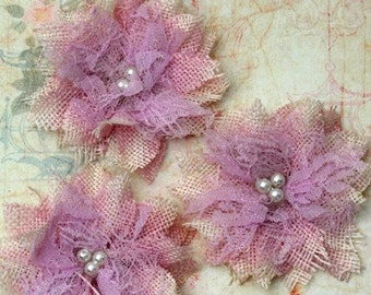 Petaloo - Burlap BirdsNest Flower x 3 - Lavender