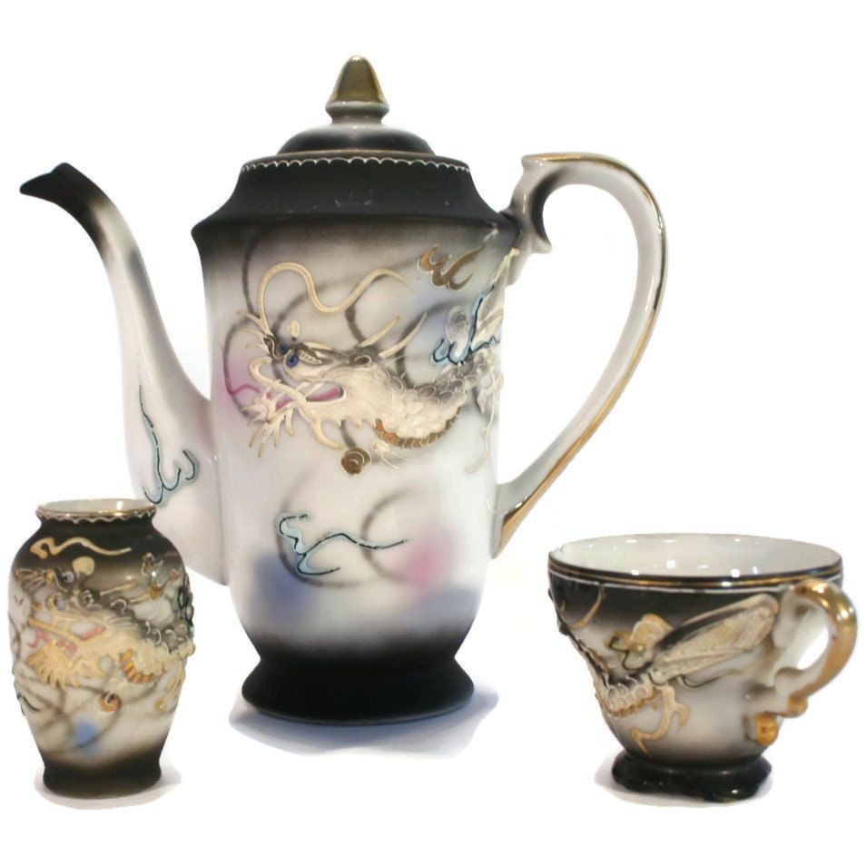 Delicate Hand Painted Impasto Dragon Coffee Or Tea By