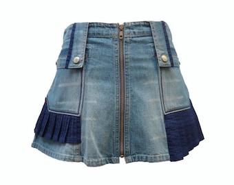 A-Line Upcycled Short Denim Skirt