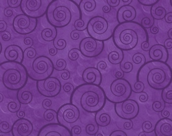 Harmony Pansy Scroll Flannel from Quilting Treasures by the yard