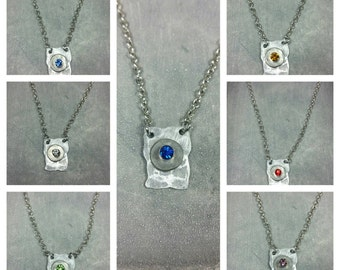 Hammered Stone Pendant Necklace /pick your stone color