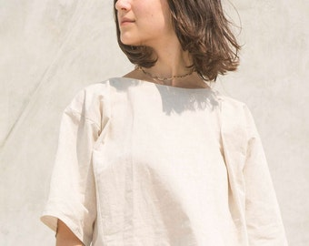 Asymmetric Top, Linen Top, Casual Blouse, Loose Fitting Blouse, Grey Blouse, Linen shirt, Minimalistic Top