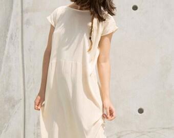Beige Silk Dress, Loose Fitting Dress, Casual Dress, Ivory Dress, Beige Dress, Maternity Dress
