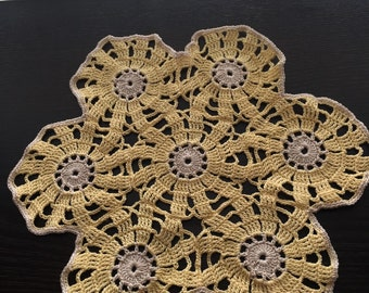 Vintage Crochet Doily or Doilie ~ Light Yellow and Cream ~ Six Sided ~ Virginia Vintage