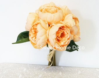JennysFloweShop 11'' Silk Peony Artificial Flower Bouquet Wedding/Home Decorations (10 Stems/7 Flower Heads) Peach