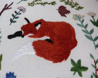 Framed Embroidery -  Sleeping Fox