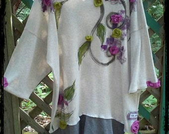 Purple Blooms Art Tunic Ladies X LG Ready to Ship