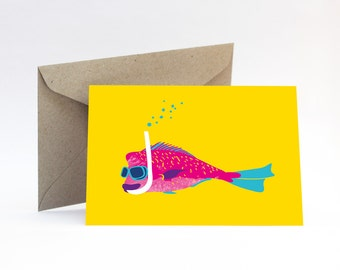 Snorkelling Snapper card – Tropical birthday, beach, summer, for a friend, girlfriend or sister, bright Australian fish