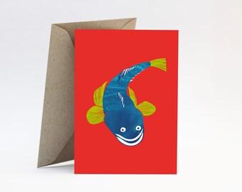 Flathead on red card - Happy Birthday boyfriend, brother, fishing dad, Father's Day, Australian fish