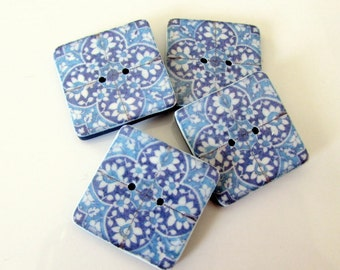 Blue and White tile buttons - Pakistan (Sindh) 16th Century 20mm