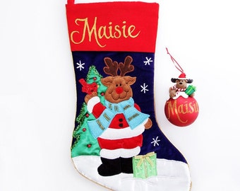 Personalised Reindeer Stocking and Bauble Pack