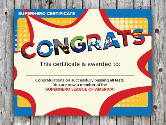 superhero children u0026 39 s birthday superhero certificate