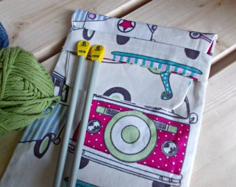 Knitting Needle Pouch, Handmade Needle Storage Bag, Campervans, Travel Bag. Knitting Needle Case, Organizer, Travel Case, Needle Holder