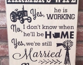 Farmers wife painted wood sign. Farmhouse decor. So God made a farmer. Personalized with state
