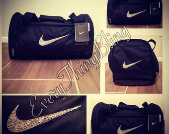Swarovski BLING elements embellished Nike Black Gym/Travel Bag-  Nike Brasilia 6 Duffle Bag-XS