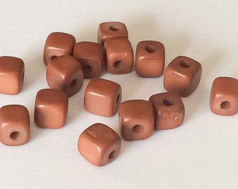 Dyed Bone Beads, Cube Beads, Carved Bone Beads Rust-15pc