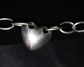 Sterling Puffed heart Bracelet