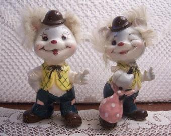 Vintage Hobo Mice Figurines with Fur