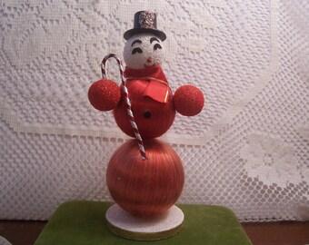 Vintage Satin Ball Snowman Figurine, Japan