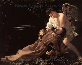 "Caravaggio ""Saint Francis of Assisi in Ecstasy"" 1595 Reproduction Digital Print Francesco Roman Catholic Friar Preacher Angel Archangel"