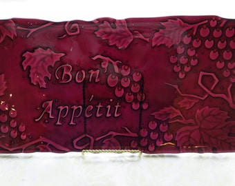 Fused Glass Cheese Tray in Transparent Cranberry Glass and Embossed with Grapes