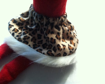 Christmas Shelf Clothes Black and Brown Leopard Skirt with Fur Trim for Girl Elf or Pixie