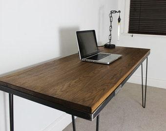 5ft Industrial Oak Desk with Hairpin Legs
