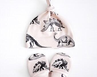 Cream Dinosaur Organic Cotton Baby Mittens & Beanie Bundle, organic baby beanie, organic baby mittens