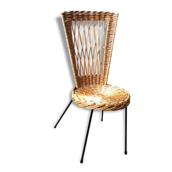 Etsy Vintage Bamboo Furniture: Bamboo Rattan Chair Metal Legs Vintage 1950 France